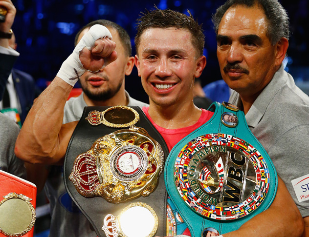 NEW YORK, NY - OCTOBER 17: Gennady Golovkin celebrates his eigth round tko against David Lemieux during their WBA/WBC interim/IBF middleweight title unification bout at Madison Square Garden on October 17, 2015 in New York City. (Photo by Al Bello/Getty Images)